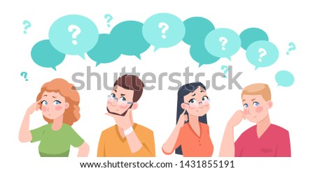 Thinking people group. Anxiety characters, flat crowd in doubt talking and confused, business team and social group. Vector cartoon businessman stressed question solutions overweight