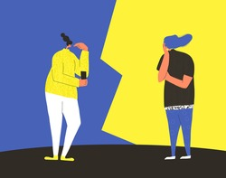 Thinking people. Quiz. Adult women vs  concept. Pair of people during question show. Quarrel concept.  Contest between friends. Vector flat color illustration.