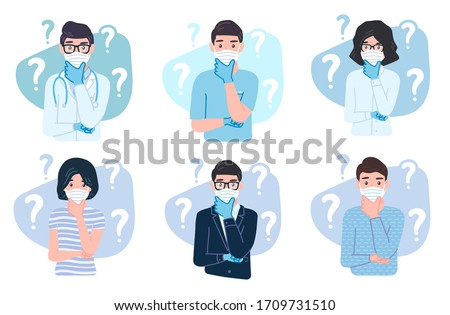Thinking people wearing protective medical mask and gloves for prevent corona virus Covid-19. characters with a curious expression. Pensive concept set with a question mark is confused, wonder emotion