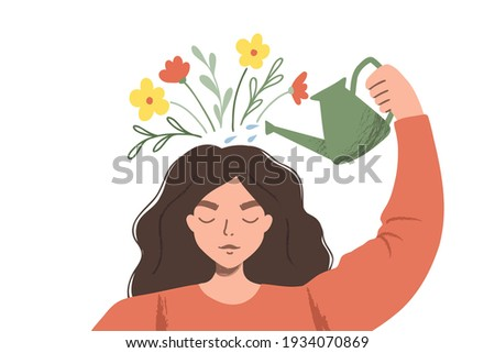 Thinking positve as a mindset. Woman watering plants that symbolize happy thoughts. Flat vector illustration ストックフォト ©