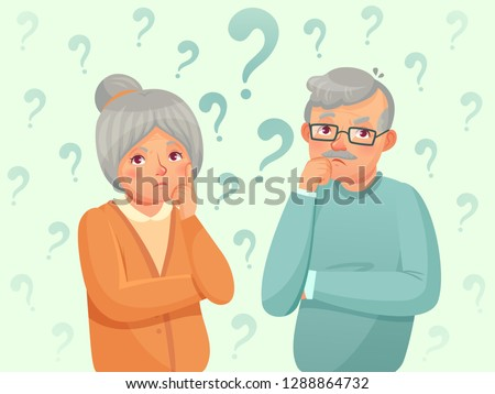Thinking seniors couple. Confused elderly people. Grandfather, grandmother forget and trying remember. Troubled old senior discussion, aging seniors worried talking cartoon vector illustration