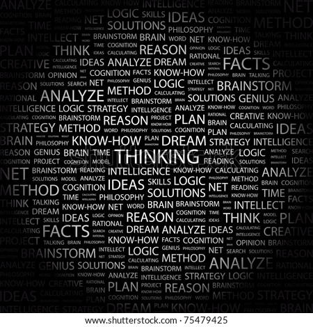 Thinking. Word collage on black background. Vector illustration. Illustration with different association terms.