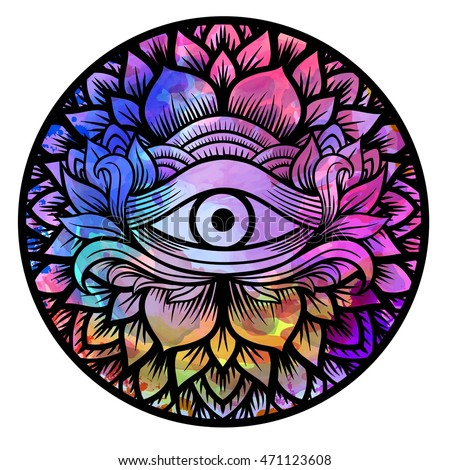 Third eye with floral mandala zentangle hand drawing line art Boho chic style. Best for adult coloring book and meditation relax. Watercolor, chalk, pastels, pencils texture. T-shirt design. Vector