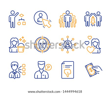 Third party, Algorithm and Group icons simple set. Cleaning, Face detect and Partnership signs. Networking, User and Valet servant symbols. Thumb down, Love and Pay money. Line third party icon