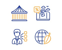 Third party, Carousels and Travel loan icons simple set. Environment day sign. Team leader, Attraction park, Trip discount. Safe world. Technology set. Linear third party icon. Colorful design set
