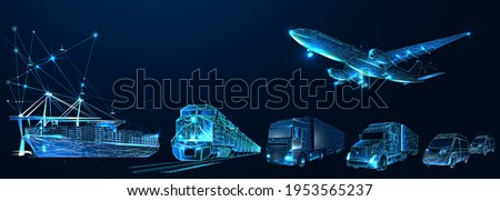 Third party logistics, 3pl, transport, cargo export, import. Integrated warehousing and transportation operation service. Air, road, maritime delivery. Digital polygonal low poly 3d mesh illustration