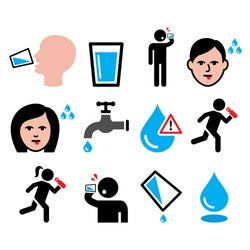 Thirsty man, dry mouth, thirst, people drinking water icons set    Vector icons set - thirst, dehydration vector design