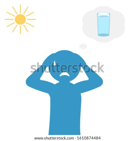Thirsty man silhouette under sun, hot temperatures causing thirst. Lack of water, think about a glass of water. Flat vector cartoon on white background.
