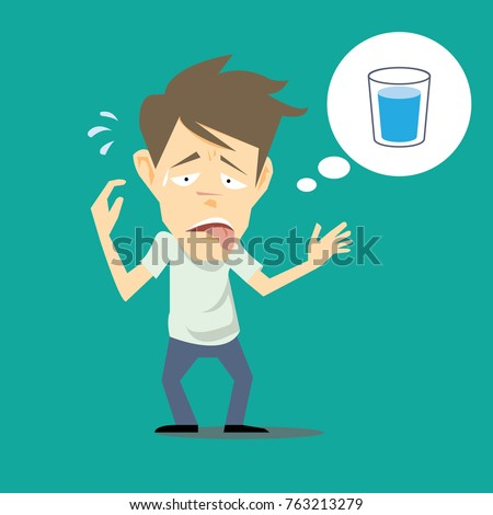 Thirsty man thinking about drinking water-cartoon vector