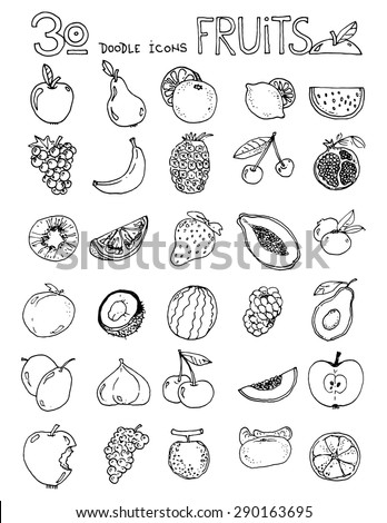 thirty doodle icons fruits