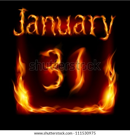 Thirty-first January in Calendar of Fire. Icon on black background