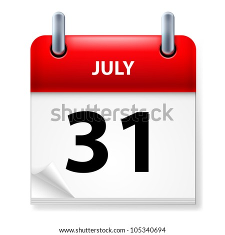 Thirty-first July in Calendar icon on white background - stock vector