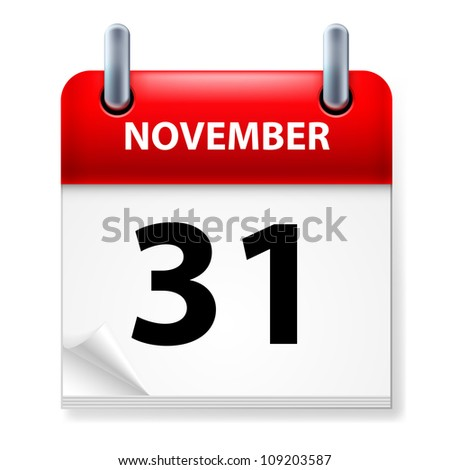 Thirty-first November in Calendar icon on white background