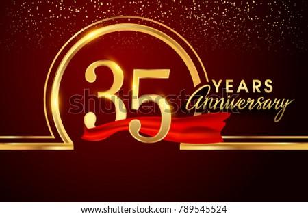 Thirty Five Years Birthday Celebration Logotype 35th Anniversary