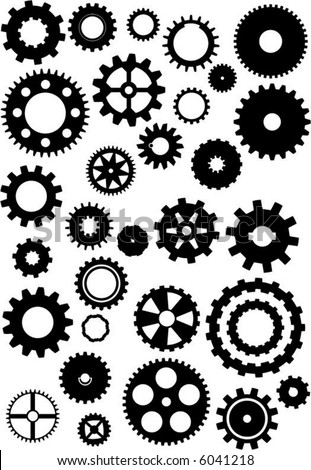 Thirty silhouetted vector gears