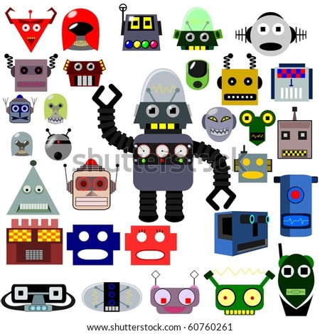 Thirty vector robot heads and one whole robot, retro and modern style - stock vector
