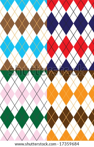 This argyle diamond design pattern has an old school preppy stylized look and feel. Each pattern is a seamless tile.