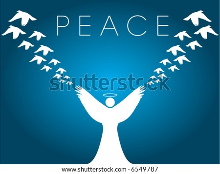 This Christmas vector background shows an angel releasing peace doves