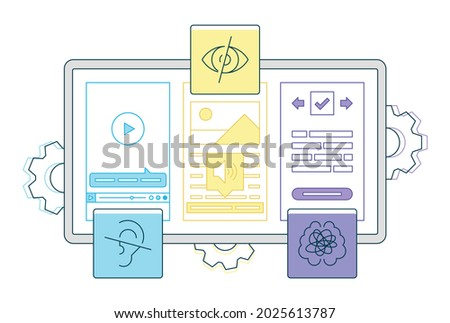 This colorful illustration depicts digital accessibility - the ability of a website to be easily navigated and understood users, including those users who have visual, auditory, motor or cognitive disorder Foto stock ©