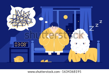 This colorful illustration shows a funny man sitting on the bed in the middle of the night, he is suffering from insomnia, next to him sits a cute sheep who is in deep sleep