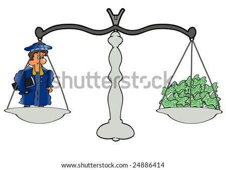 This comic illustration depicts a balance  with lawyer and money