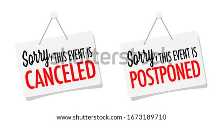 This event is canceled or postponed on door sign hanging Stockfoto ©