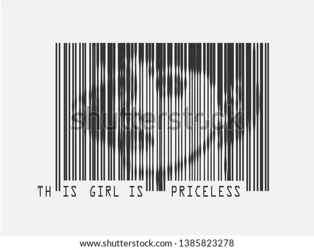 this girl is priceless slogan barcode graphic illustration