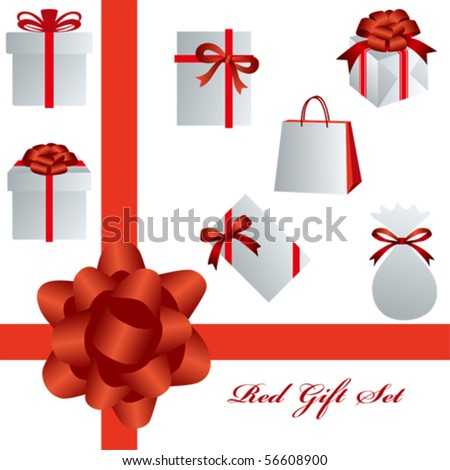 This graphic is red gift package?set. Illustration vector.