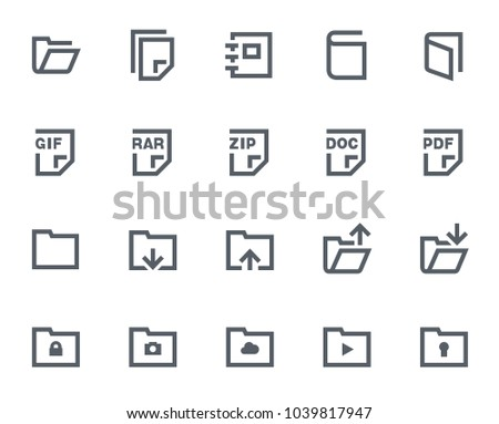 This icon set in bold outline style contains icons like PDF File, Open Folder and Locked Folder. These vector icons will look great in any user interface design. Pixel perfect at 64x64.
