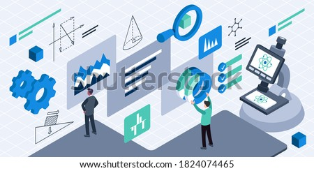 This illustration depict a R&D management, designing and leading processes, managing, organizations, and ensuring smooth transfer of new know-how and technology to other groups or departments involved Photo stock ©
