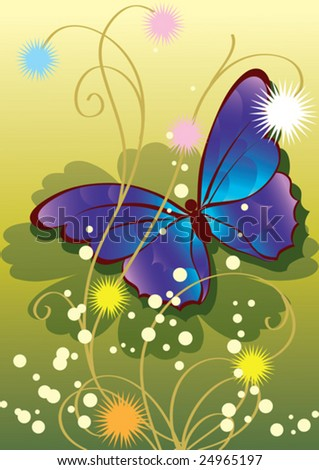this illustration depicts beautiful plants and butterfly
