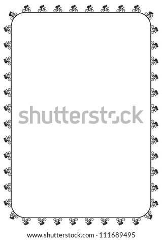 This illustration depicts blank page with mountain bike rider pattern frame