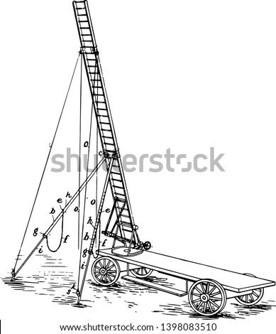 This illustration represents Four Wheeled Cart Mount for Ariel Ladder vintage line drawing or engraving illustration.