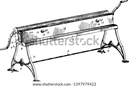 This illustration represents Sheet Metal Bending Machine which allows the bending of sheet metal vintage line drawing or engraving illustration.