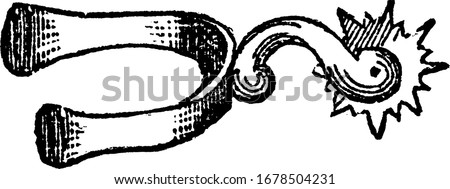 This illustration represents Spur which is used for urging a horse forward, vintage line drawing or engraving illustration. Stock photo ©