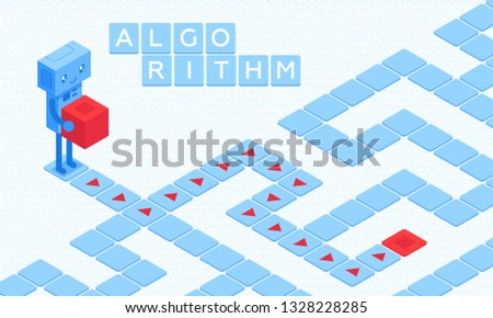 This illustration shows a robot holding a red cube. Before the robot is a maze. Only by following the pointers that symbolize the algorithms will he be able to deliver the cube to the right goal