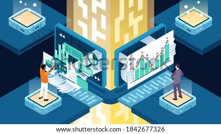 This illustration shows business automation or digital transformation, is the technology-enabled automation of complex business processes Stock foto ©