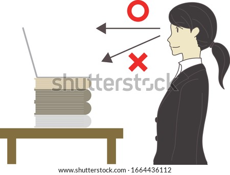 This illustration shows the camera position during a web interview.