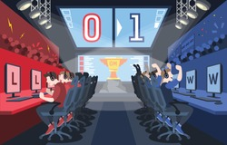 This illustration shows the eSports tournament. Cybersport arena with online game tournament in team vs team format. Vector illustration with a golden cup in the centre of the hall