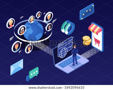 This illustration shows traffic arbitrage, a business model in which media buyers buy traffic at a lower cost and redistribute it to monetise it Photo stock ©