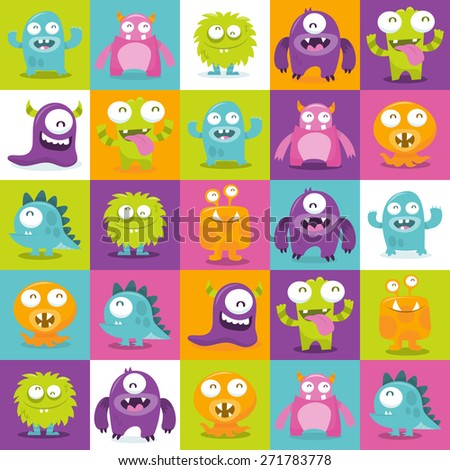 This image is a cartoon vector illustration of happy, silly, cute monsters in multicolor 5x5 tiles pattern background.