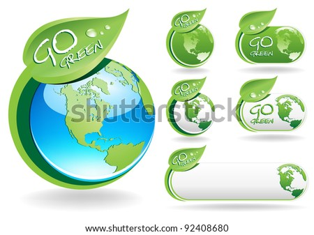 "This image is a vector file representing a collection of ""Go Green"" labels,  all the elements can be scaled to any size without loss of resolution."