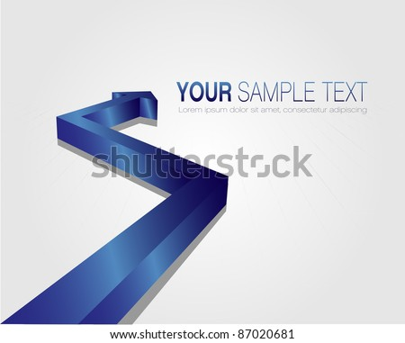 This image is a vector file representing a 3d blue arrow,  all the elements can be scaled to any size without loss of resolution.