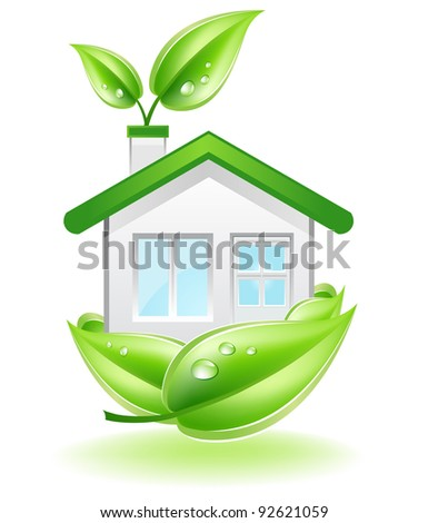 This image is a vector file representing a Eco House in a leaf nest,  all the elements can be scaled to any size without loss of resolution.