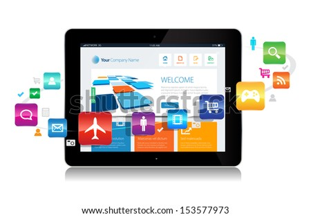 This image is a vector file representing a internet apps concept. / Internet Cloud / Internet Cloud