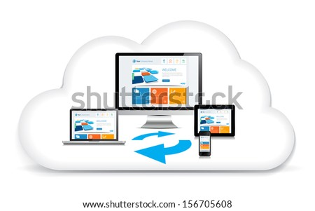 This image is a vector file representing a internet cloud backup concept. / Multimedia Syncing Data Cloud / Multimedia Syncing Data Cloud #156705608