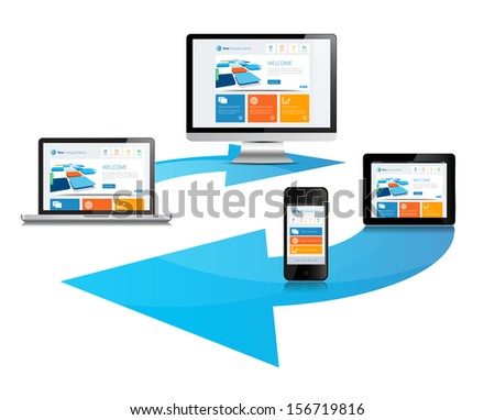 This image is a vector file representing a internet cloud media devices sync concept. / Cloud Sync Media Devices / Cloud Sync Media Devices