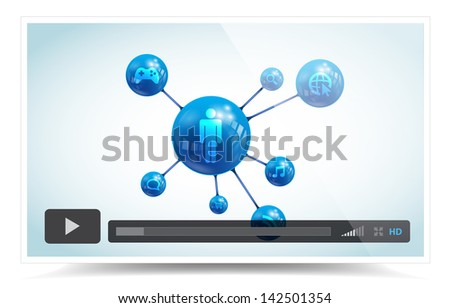 This image is a vector file representing a video player. / Cloud LCD TV Monitor / Cloud LCD TV Monitor