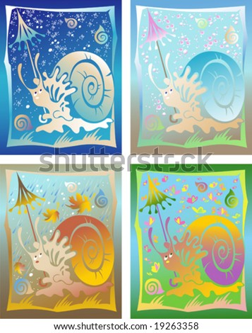 This image is a vector illustration and can be scaled to any size without loss of resolution. Calendar is four seasons, with a snail and with a different weather