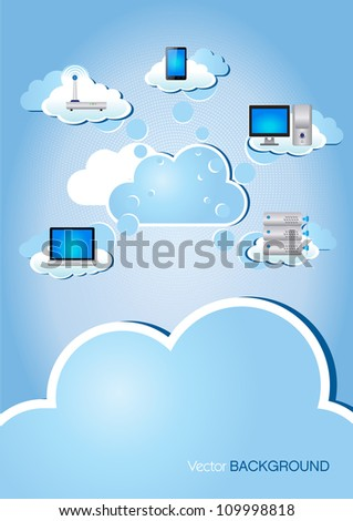 This image is a vector illustration representing a cloud computing scheme and can be scaled to any size without loss of resolution./Cloud Computing